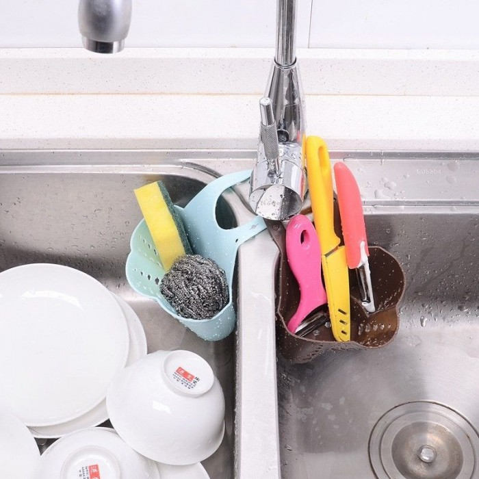 Kitchen Hanging Drain Bag Basket Bath Storage Gadget Tools Sink Holder Portable