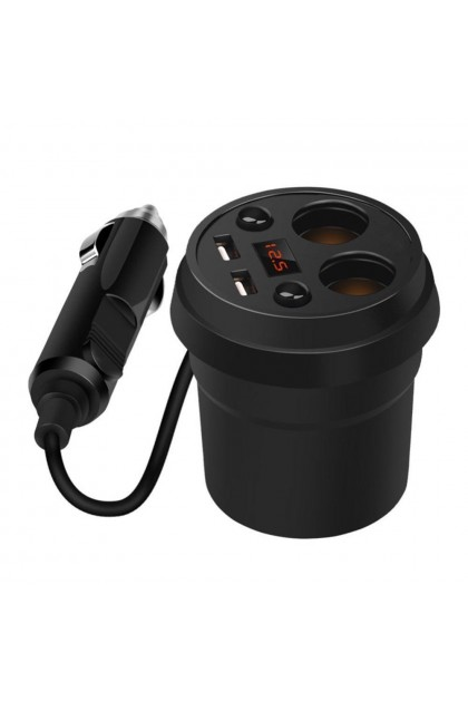 (Ready Stock) Dual Usb Car Charger Mobile Phone Cup Cigarette Lighter Sockets Car Led Displays