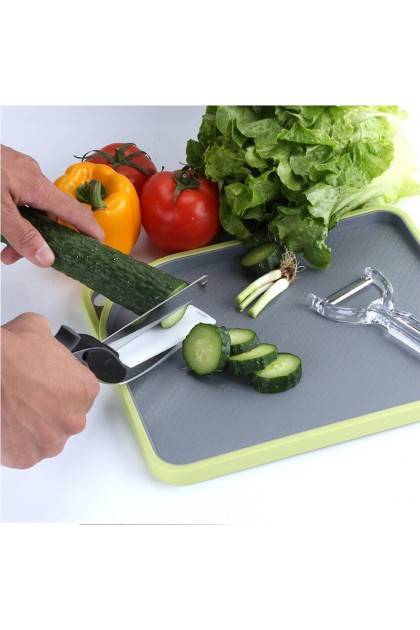 (Ready Stock) 2 In 1 Food Chopper Kitchen Scissors Smart Cutter Kitchen Vegetable Slicer