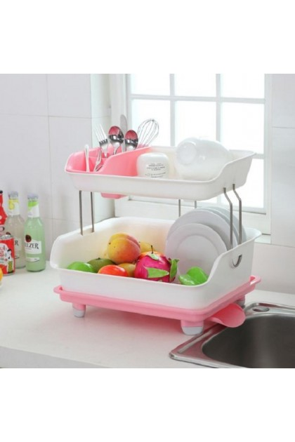 (Ready Stock) 2 Layer Cupboard Plastic Kitchen Drain Dish Rack With Lid Tableware