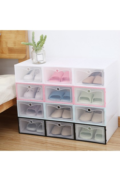 (Ready Stock) 1Pcs Foldable Clear Plastic Shoe Case Storage Organizer Stackable Tidy Box