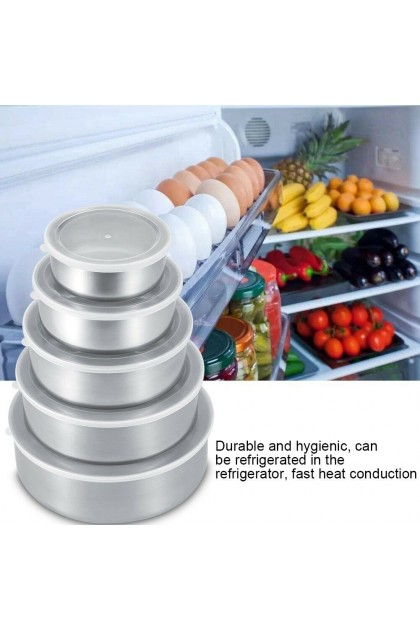 (Ready Stock) 5pcs Stainless Steel Fresh Bowl Lunch Food Storage Box Containers