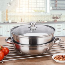 (Reject Item)Stainless Steel Two Layer Soup Steamer Multi-Purpose Hot Pot Double-Layer