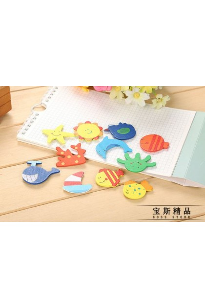 3pcs Fresh Magnet Creative Cartoon Refrigerator Stickers Wooden Magnetic Stickers