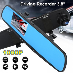 "(Ready Stock) 3.8"" HD 1080P Car DVR Camera Vehicle Rearview Mirror Dash Cam Recorder"