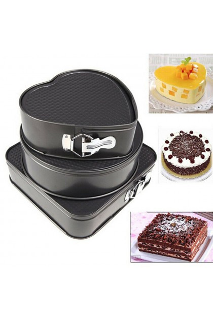 (Ready Stock) 3 Pcs Non Stick Springform Heart Square Round Cake Pan Baking Bake Tins Bakeware