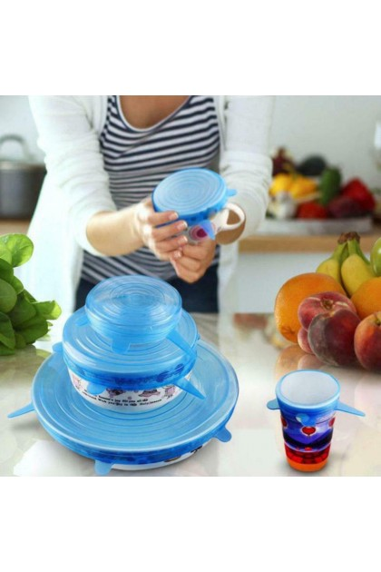 (Ready Stock) 6PC Reusable Silicone Wrap Bowl Seal Cover Stretch Lid Keep Food Fresh