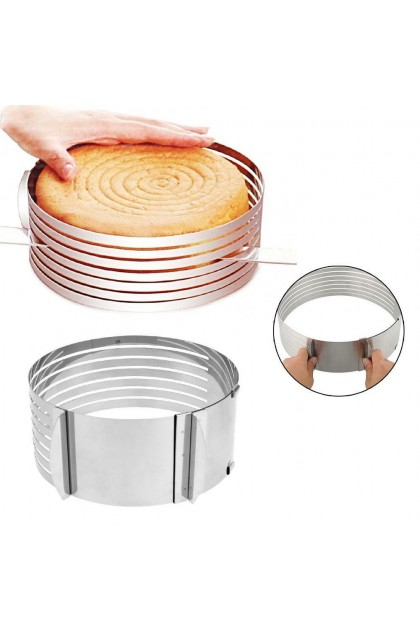 (Ready Stock) Stainless Steel Adjustable Layer Cutting Slicing Cake Ring Mould Bakeware Tool