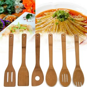 (Ready Stock) 6Pcs Bamboo Cooking Utensil Wooden Spoon Spatula Mixing Kitchen Tool