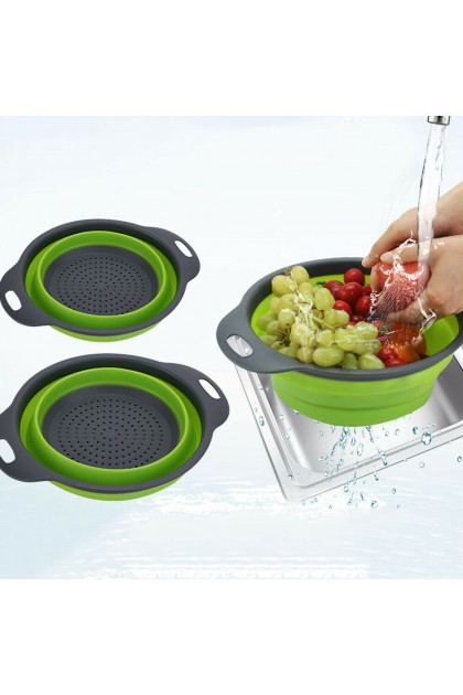 (Ready Stock) Large Silicone Folding Fruit Vegetable Basket Container Drain Kitchen Storage