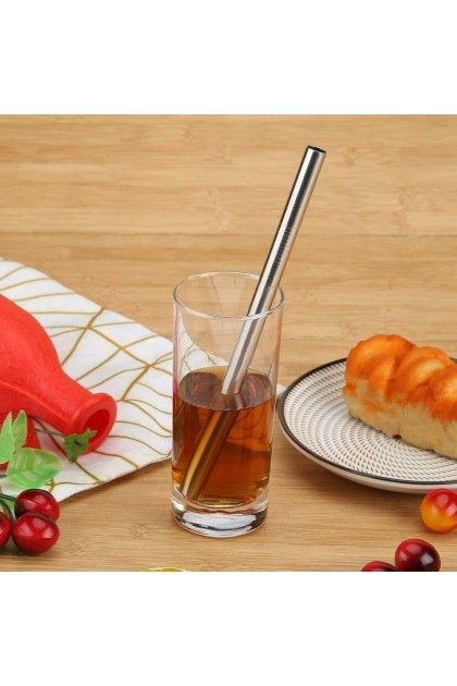 (Ready Stock) 5pcs Stainless Steel Metal Drinking Straw Reusable Straws with Cleaner Brush Kit