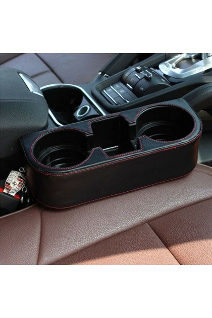 (Ready Stock) Car Seat Seam Wedge Storage Leather Organizer Cup Holder Drink Phone Mount Stand
