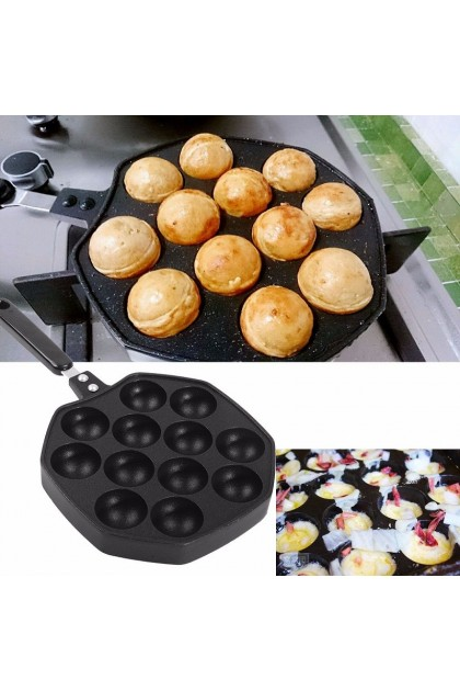 (Ready Stock) 12 Holes Takoyaki Pan Octopus Ball Maker Snacks Baking Tray Grill Mold Plate