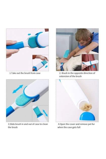 (Ready Stock) Double Sided Pet Hair & Lint Fur Easy Remover Brush Dog Cat Self Clean Clothes