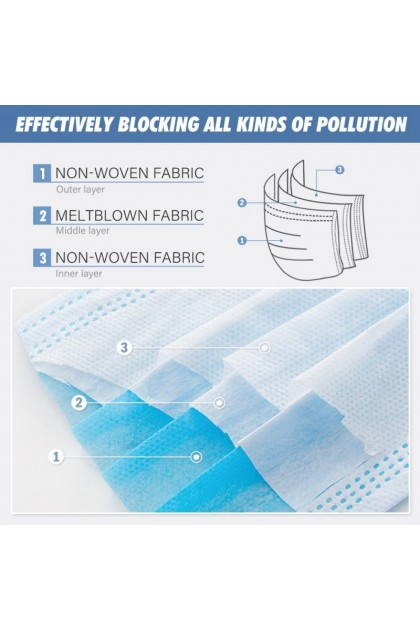 [Ship Daily] 3 ply Woven Face Mask Medical Disposable With Earloop Flu Protection Haze Dust