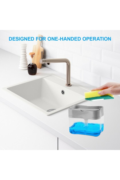 [FREE SPONGE] 2 in 1 Soap Pump ABS Dispenser & Sponge Holder For Dish Soap And Kitchen Clear