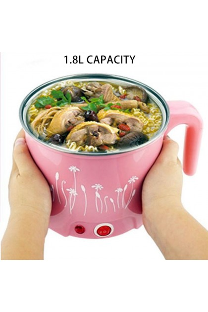 Hot Pot Multifunction Electric Skillet Stainless Steel Pot Cooker Small Pot 1.8L