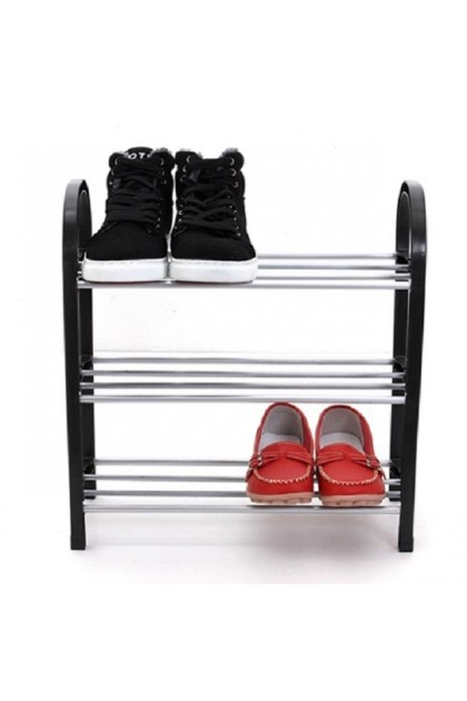 (Ready Stock) 42CM Shoe Rack Shelf 3 Tier Shoes Storage Black Plastic Closet Multi-Storey