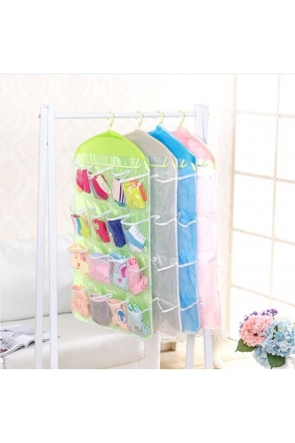 (Ready Stock) 16 Grid Underwear Bras Socks Ties Shoes Storage Organizer Box Hanging Bags 6L