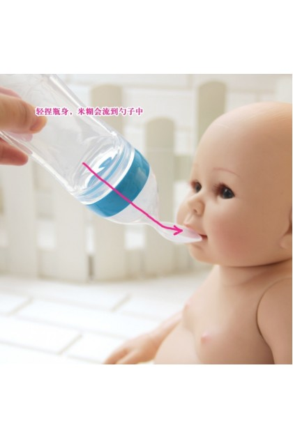 (Ready Stock) Infant Baby Kids Silicone Feeding With Spoon Feeder Food Rice Cereal Bottle