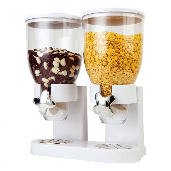 Ready Stock Double Chamber Dry Food Cereal Dispenser Airtight Kitchen Storage Machine