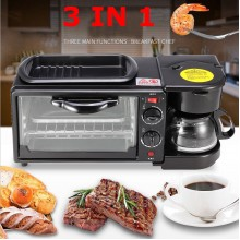 3 In 1 Breakfast Machine Coffee Maker Frying Pan Bread Toaster Electric Oven