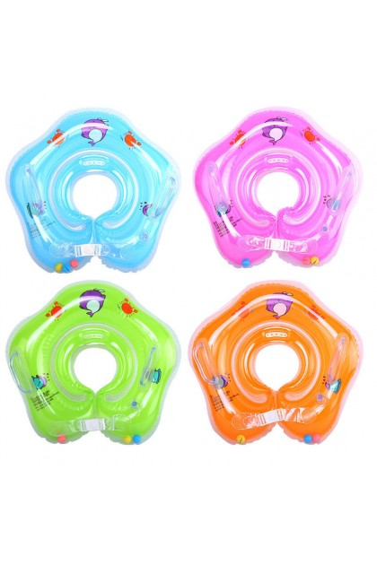 (Ready Stock) Blue Inflatable Hot Baby Newborn Neck Float Ring Bath Safety Aid Toy Swimming