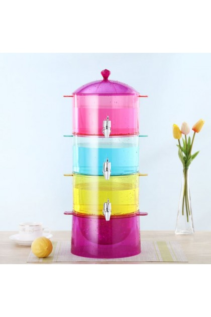 (Ready Stock) 3 Layer Juice Bucket Beverage Barrel with Faucet Cold Wine Bucket